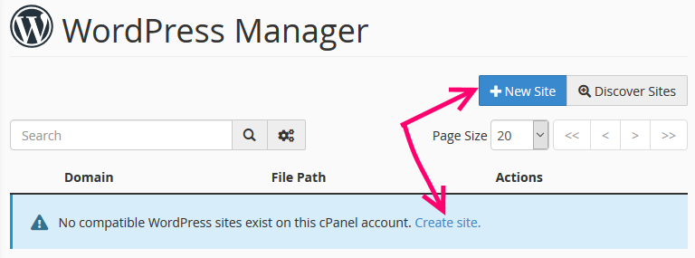 Wordpress manager create new site