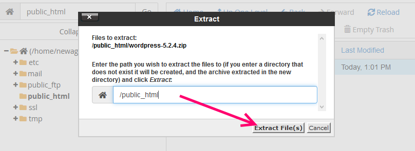 extract files cpanel location