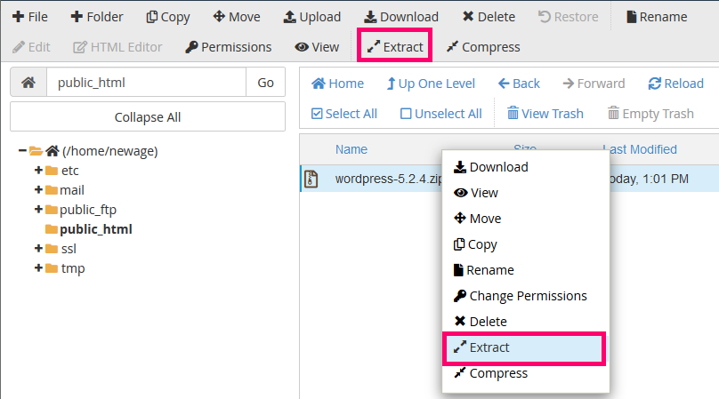 how to extract a zipped file cpanel