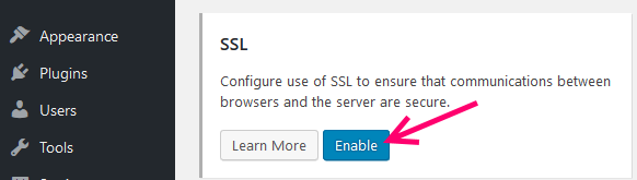enable ssl certificate wordpress