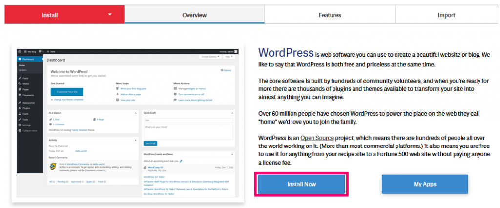 Wordpress Install Now button softacolous