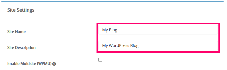 Image showing how enter your website name and site description.