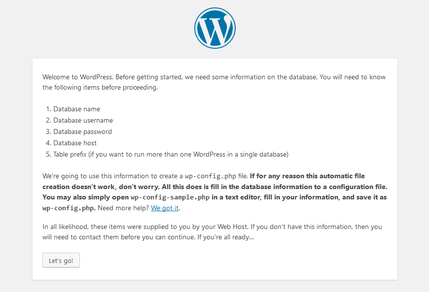 let's go, WordPress requirements