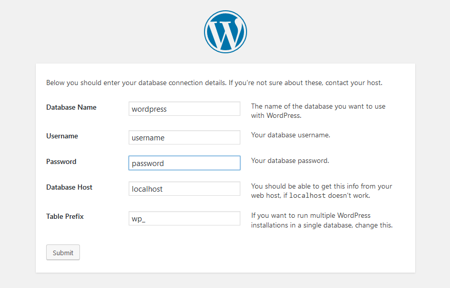 enter wordpress username and password