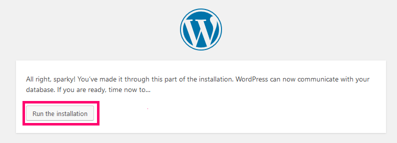 run installation wordpress