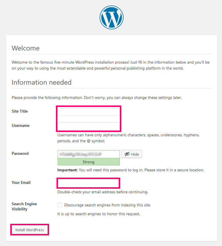 wordpress installation supply information