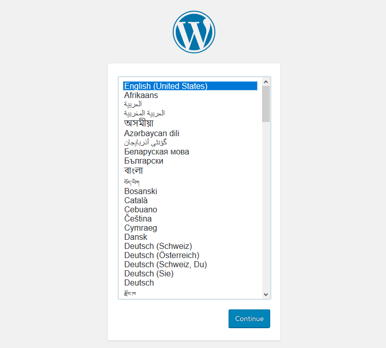 wordpress installation screen